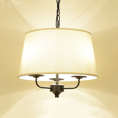 American Rustic Tapered Chandelier 3 Lights Fabric & Metal Pendant Lighting for Bedroom