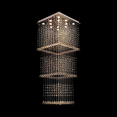 Beveled Crystal Square Cluster Pendant Modern 13 Bulbs Silver LED Hanging Light for Living Room