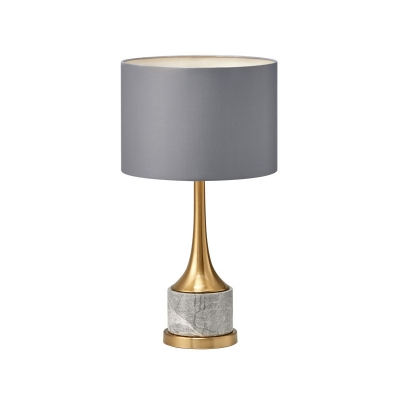 Contemporary Shaded Desk Light Fabric 1 Bulb Night Table Lamp in Grey with Marble Base