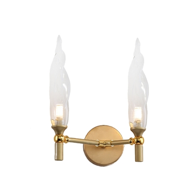 Double Arm Metal Sconce Simple 2 Heads Gold Wall Mounted Light with Torch Clear Glass Shade