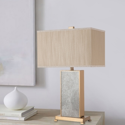 Fabric Rectangular Nightstand Lamp Contemporary 1 Head Reading Book Light in Grey