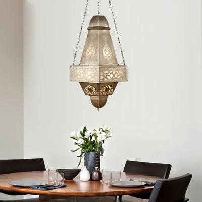 Hollow Restaurant Chandelier Light Fixture Arab Metal 6 Bulbs Brass Hanging Lamp