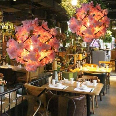Industrial Cherry Blossom Hanging Pendant 1 Bulb Metal LED Suspension Light in Black, 19.5
