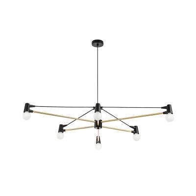 Metal Crossing Line Chandelier Lighting Modernist 6-Head Black Hanging Lamp Kit over Dining Table