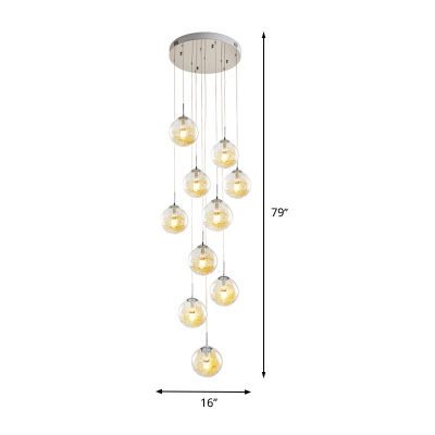 Minimalist Sphere Cluster Pendant Clear Glass 10 Bulbs Stair Suspension Lighting Fixture in Silver