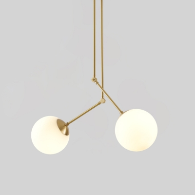 Modern 2 Lights Cluster Pendant Light with White Glass Shade Brass Sphere Hanging Lamp with Adjustable Node