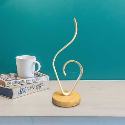 Ribbon Table Lighting Simple Acrylic LED Beige Task Lamp for Bedside with Wood Base