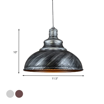 Rustic Bowl Shape Pendant 1-Light Metallic Ceiling Hang Fixture in Silver/Bronze with Pulley