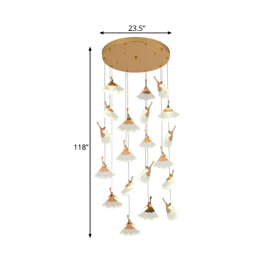 24 Bulbs Stair Cluster Pendant Light Contemporary Gold LED Suspension Lamp with Ginkgo Acrylic Shade