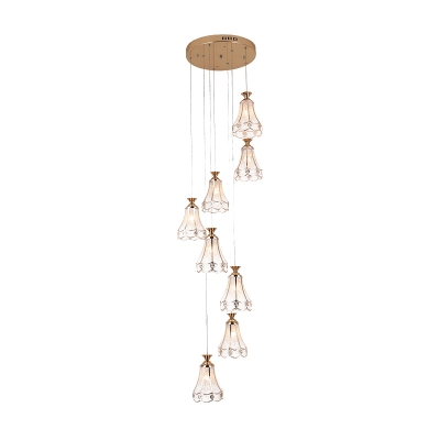 8 Bulbs Stair Multi Light Pendant Contemporary Gold Suspension Lamp with Scallop Bubble Glass Shade