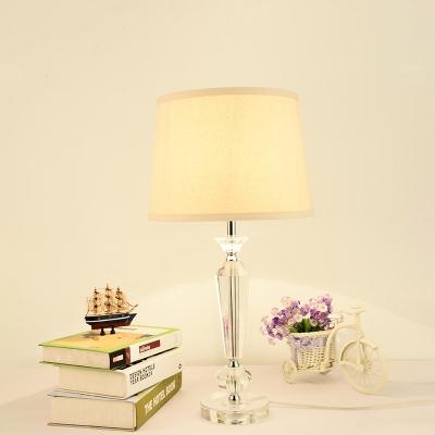 Baluster Table Lamp Modernism Beveled Crystal 1 Head Reading Book Light in White