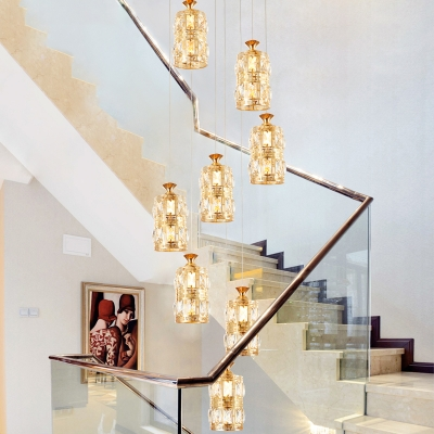 Clear Crystal Cylinder Cluster Pendant Simple 8 Heads Gold Suspension Light for Stair