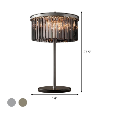 Cylinder Living Room Desk Lamp Smoke/Chrome Crystal LED Contemporary Reading Book Light
