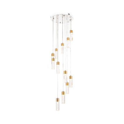 Cylindrical Bubble Acrylic Cluster Pendant Modernist 12 Heads Silver/Gold Hanging Ceiling Light for Stair