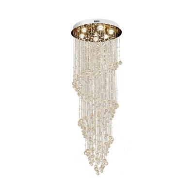 Gold Spiral Cluster Pendant Light Minimalist 7 Lights Clear K9 Crystal LED Suspension Lamp