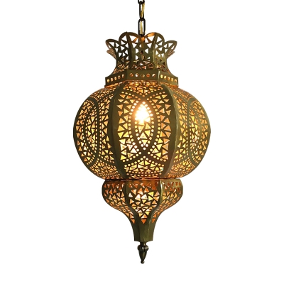 Hollow Restaurant Hanging Pendant Light Arabian Metal 1 Light Brass Suspension Lamp