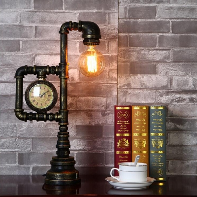 Metal Black Night Table Lamp Square Frame 1-Bulb Antiqued Desk Light with Water Gauge for Study Room