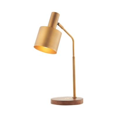 Modern Cylinder Reading Light Metal 1 Bulb Nightstand Lamp in Brass with Wood Base