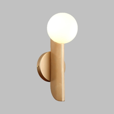 Modernist 1 Bulb Wall Light with White Glass Shade Gold Sphere Wall Lamp Sconce with Arc Panel Arm