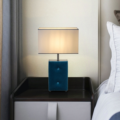Rectangle Fabric Task Lighting Modernist 1 Head Blue Night Table Lamp for Bedroom