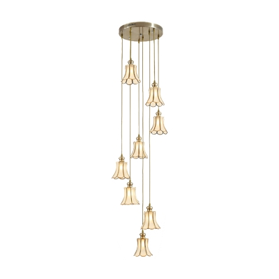 Scalloped Frosted Glass Cluster Pendant Colonial 8 Lights Gold Drop Lamp for Living Room