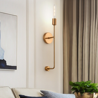 Simple 1-Light Wall Mount Lighting with Clear Glass Shade Gold Linear Arm Sconce Lamp
