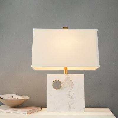 Tzoid Fabric Task Light Modern 1, Square Marble Base Table Lamp