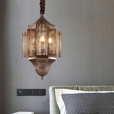 3 Lights Metal Pendant Chandelier Arabian Brass Hollow Restaurant Ceiling Suspension Lamp