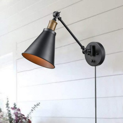 Baycheer / Antiqued Conical Wall Light Sconce 1-Light Metal Wall Lamp Fixture in Black for Kitchen