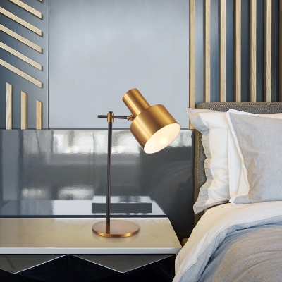 Contemporary 1 Bulb Desk Light Gold Flashlight Night Table Lamp with Metal Shade