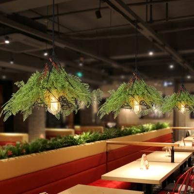Diamond Restaurant Drop Lamp Industrial Metal 1 Head Green LED Hanging Light Fixture with Plant