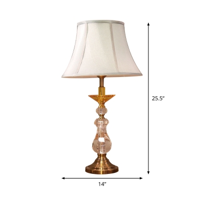 Fabric Bell Table Light Modernism 1 Head Small Desk Lamp in White for Dining Room