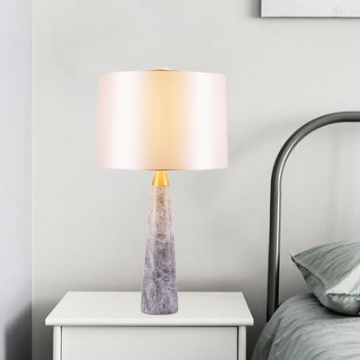 Shaded Desk Light Modern Fabric 1 Bulb Night Table Lamp in White with Marble Base