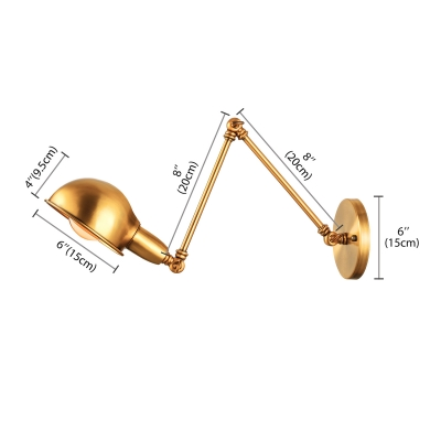 Swing Arm Aged Brass Wall Sconce Light in Dome Shade Industrial Style 1 Light Wall Mount Lamp for Living Room Study Room