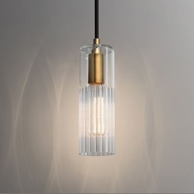 Tubular Hanging Lighting Simple White Prismatic Glass 1 Light Bedroom Ceiling Pendant Lamp
