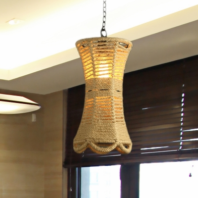Beautifulhalo coupon: 1 Bulb Ceiling Lighting Farmhouse Radian Rope Hanging Pendant Lamp in Beige with Hand Woven Design