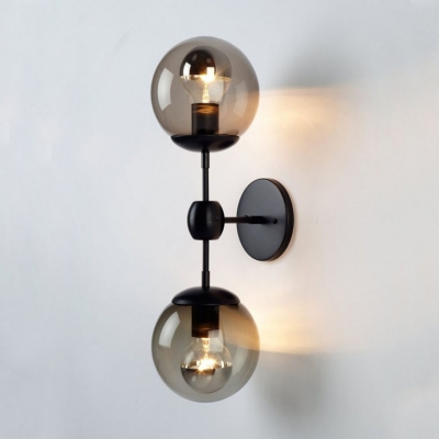 2 Lights Orb Wall Light Modern Simple Amber Glass Decorative Wall Sconce in Satin Black for Hallway