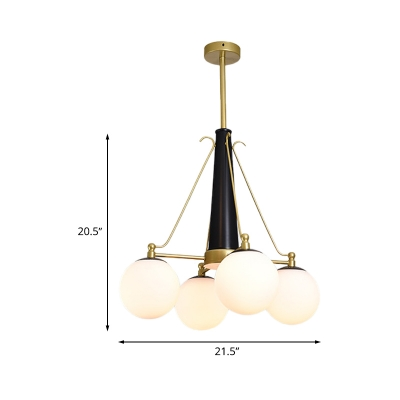4 Bulbs Bedroom Pendant Light Fixture Modern Brass and Black Chandelier with Bubble White Frosted Glass Shade