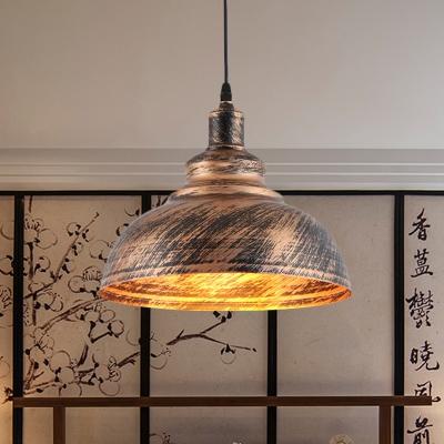 Barn Restaurant Drop Pendant Light Antiqued Metal 1-Bulb Rust Finish Hanging Lamp Kit, 12