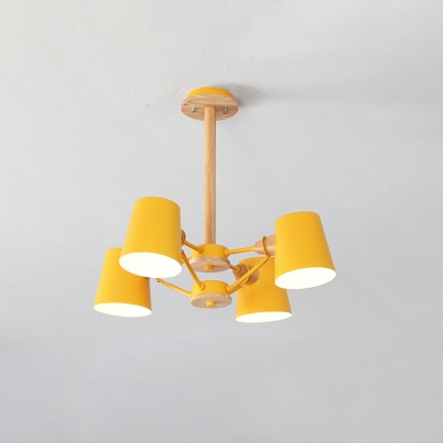 Barrel Flushmount Lighting Contemporary Metal 4 Bulbs Living Room Semi Flush Lamp Fixture in Pink/Yellow with Wood Rod