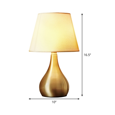 Brass Flared Task Light Modernist 1 Head Fabric Reading Lamp with Gourd Metal Base