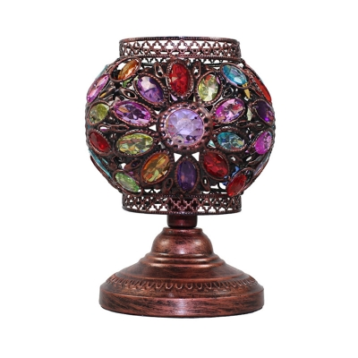 Carved Table Light Traditional Metal 1 Head Small Desk Lamp in Purple/Red/Yellow for Bedroom