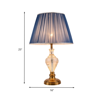 Contemporary 1 Bulb Task Lighting Blue Flared Night Table Lamp with Fabric Shade