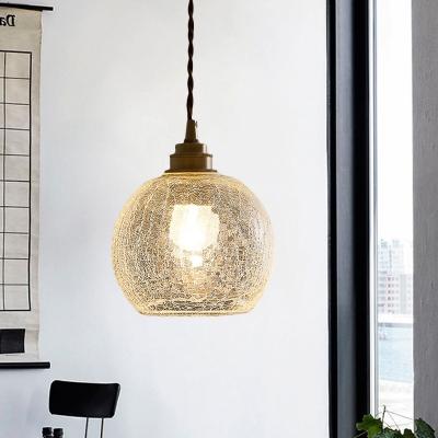 Globe Pendant Light Vintage Clear Crackled Glass 1 Light Dining Room Hanging Light Fixture
