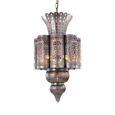 Metal Bronze Chandelier Light Fixture Scalloped 4 Bulbs Arabic Hanging Lamp Kit for Restaurant