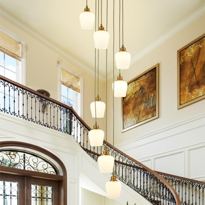 Modern 8 Bulbs Cluster Pendant Gold Tulip Suspension Lighting with White Glass Shade