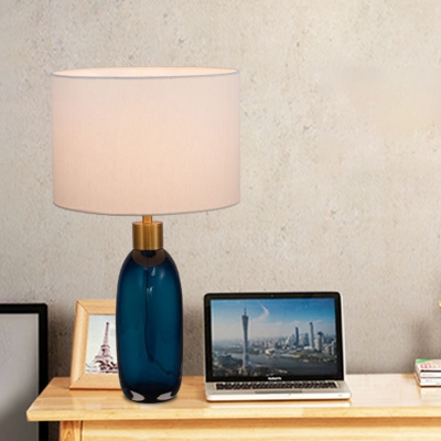 Modern Bottle Reading Light Blue Hand-Cut Crystal 1 Bulb Bedside Nightstand Lamp