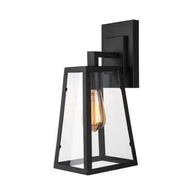 Modern Trapezoid Wall Light in Clear Glass Wrought Iron Frame Single Light Wall Sconce in Black