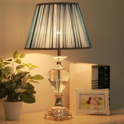 Shaded Desk Light Modern Fabric 1 Bulb Blue Table Lamp, Carved Gold Metallic Base