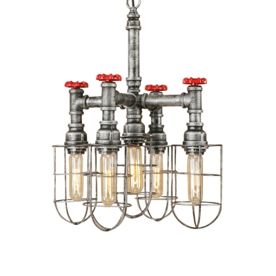 Silver 5 Heads Hanging Lighting Antiqued Metallic Piping Chandelier Pendant Lamp with Wire Cage